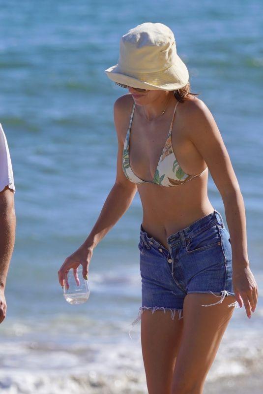 KENDALL JENNER in Bikini Top and Denim Shorts Out on the Beach in Malibu 07/18/2020