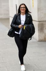 KYM MARSH in a Leather Jacket and Black Denim Leaves BBC Studios in London 06/30/2020