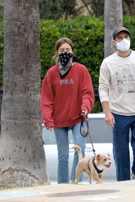LILY COLLINS Out with Her Dog in Los Angeles 07/22/2020