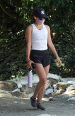 LUCY HALE in a Shorts Out Hiking in in Los Angeles 07/12/2020