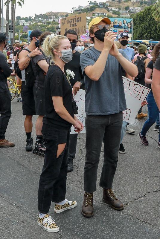 MAIKA MONROE and Joe Keery at Breonna Taylor Protest in Los Angeles 06/05/2020