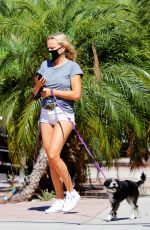 MALIN AKERMAN in Shorts Out with Her Dog in Los Feliz 07/15/2020