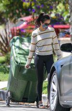 NINA DOBREV Taking a Trash Bin Outside Her Home in West Hollywood 07/18/2020
