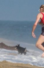 PARIS HILTON in a Red Swimsuit on the Beach in Malibu 07/27/2020