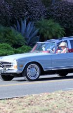 Pregnant KATY PERRY Driving Her Classic Mercedes Convertible Out in Santa Barbara 07/19/2020