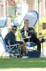 Pregnant SOPHIE TURNER and Joe Jonas with Friends at a Park in Los Angeles 07/16/2020