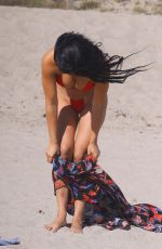 SUELYN MEDEIROS in a Red Bikini at a Beach in Malibu 07/01/2020