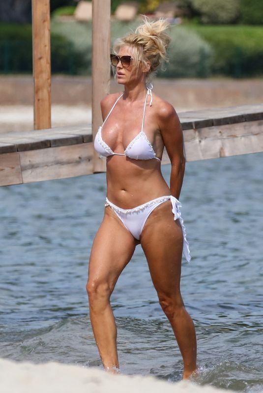 VICTORIA SILVSTEDT in a White Bikini at a Beach in France 07/28/2020