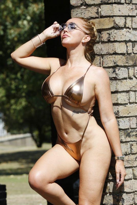 AISLEYNE HORGAN WALLACE in a Golden Bikini in London 08/13/2020