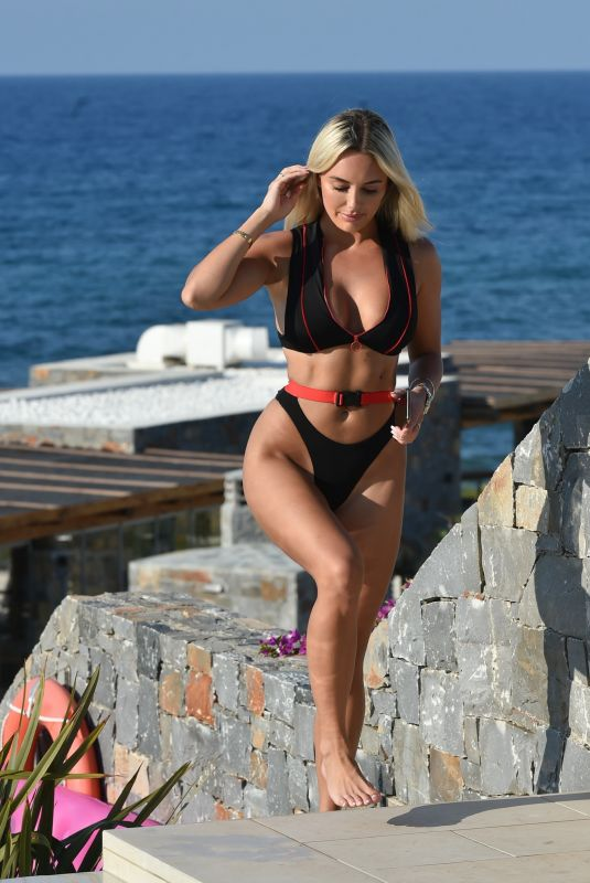 AMBER TURNER in BIkini at a Pool in Crete 08/29/2020