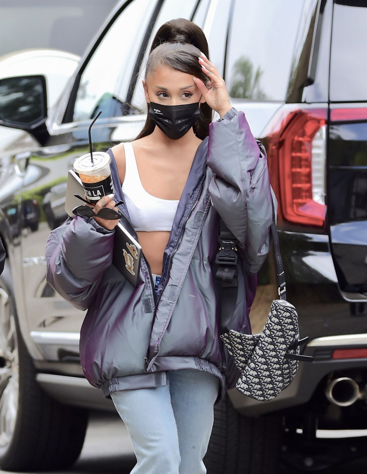 ARIANA GRANDE Arrives at a Recording Studio in Los Angeles ...