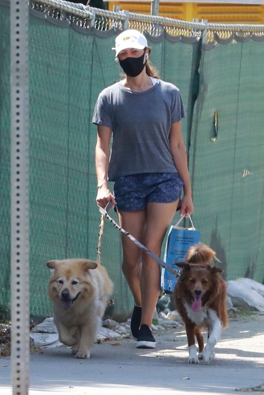 AUBREY PLAZA Out with Her Dogs in Los Feliz 08/15/2020