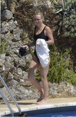 CAROLINE WOZNIACKI in a Black Swimsuit at a Pool in Italy 08/10/2020