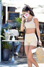 CHANTEL JEFFRIES in Tights Leaves Zinque Caffee in Los Angeles 08/29/2020