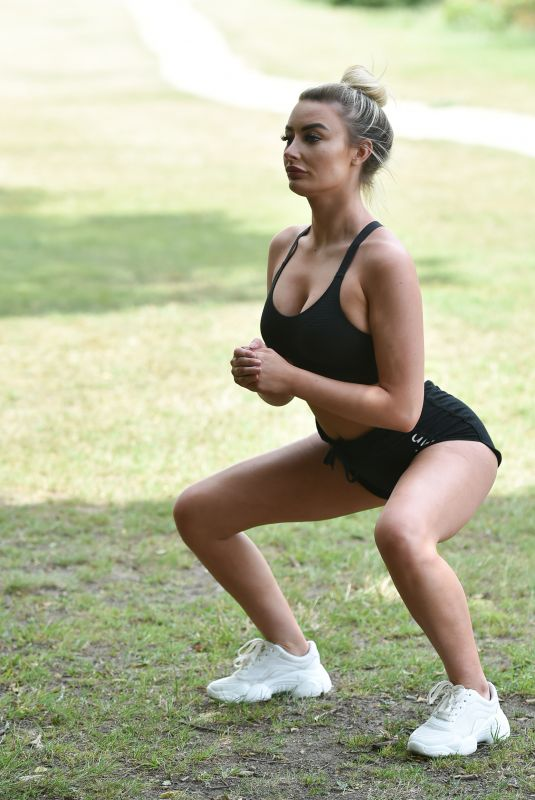 CHLOE CROWHURST Workout at a Park in Chigwell 08/22/2020