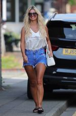 CHRISTINE MCGUINNES in Denim Shorts Out in Wilmslow 08/13/2020