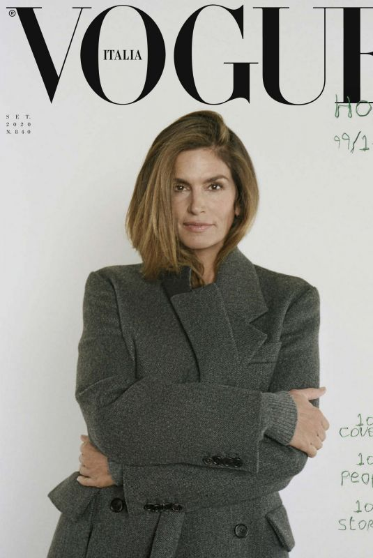 CINDY CRAWFORD in Vogue Magazine, Italy September 2020