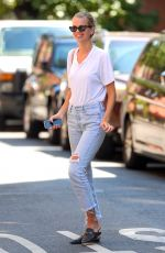 DAPHNE GROENEVELD Showing Engagement Ring Out in West Village 08/03/2020