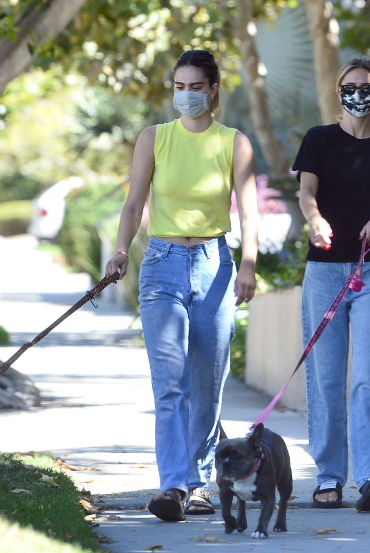 DELILAH and AMELIA HAMLIN Out with Their Dogs in Los Angeles 08/10/2020