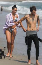 DUA LIPA in Bikini and Anwar Hadid Out with Their Dog at a Beach in Malibu 08/25/2020