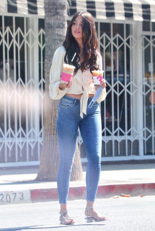 EIZA GONZALEZ in Tight Denim Out for Coffee in Studio City 08/28/2020