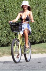 EMILY RATAJKOWSKI in Bikini Top and Denim Shorts Riding a Bike in The Hamptons 08/10/2020
