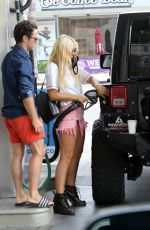 EMMA SLATER in Denim Shorts at a Gas Station in Los Angeles 08/04/2020