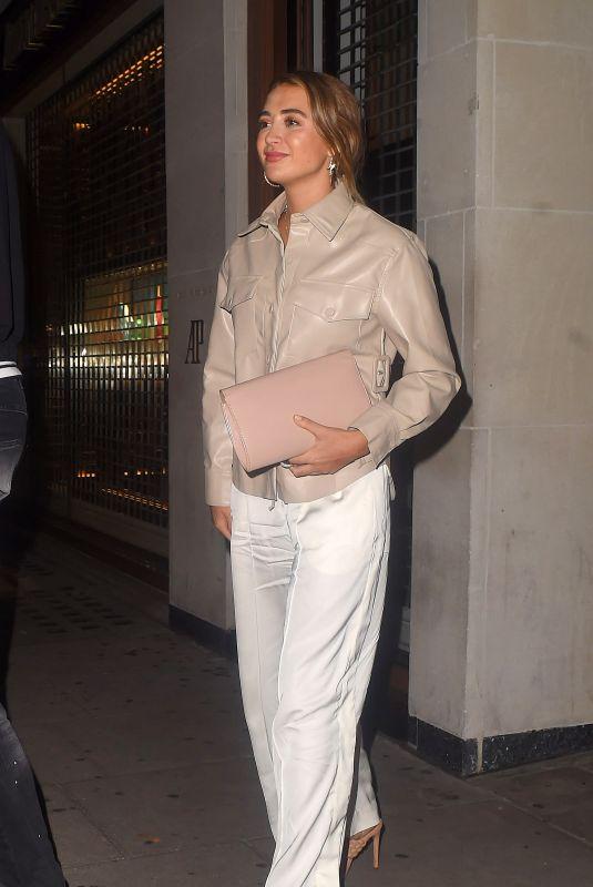 GEORGIA HARRISON Leaves Somoan Twiga Knightsbridge in London 08/20/2020
