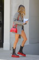 HAILEY BIEBER in Denim Shorts and Oversize Blazer Out in Los Angeles 08/26/2020
