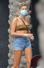 HAILEY BIEBER in Denim Shorts Arrives at a Studio in Los Angeles 08/18/2020