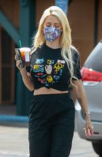 HOLLY MADISON at a Gas Station in Los Angeles 08/21/2020