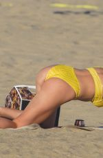 IRELAND BALDWIN in a Yellow Swimsuit on the Beach in Malibu 08/10/2020