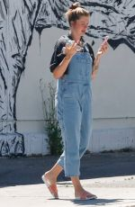 IRELAND BALDWIN in Denim Overalls Out for Iced Coffee in Los Angeles 08/10/2020