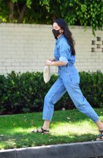 JESSICA GOMES in a Denim Jumpsuit Leaves a Tennis Lesson in Beverly Hills 08/11/2020