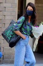 KATIE HOLMES Out Shopping Flowers in New York 08/18/2020