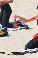 MARIA SHARAPOVA Workout at a Beach in Los Angeles 08/19/2020