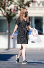 MOLLY QUINN Wearing a Mask Out in Los Angeles 08/15/2020