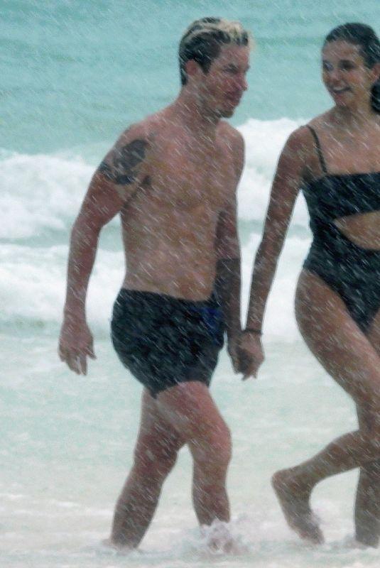 NINA DOBREV and Shaun White at a Beach in Tulum 08/21/2020