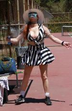 PHOEBE PRICE at a Tennis Court in Los Angeles 08/01/2020