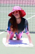 PHOEBE PRICE at a Tennis Court in Los Angeles 08/11/2020