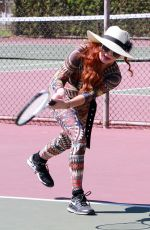 PHOEBE PRICE at a Tennis Courts in Los Angeles 08/28/2020