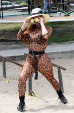 PHOEBE PRICE Playing Tennis at a Tennis Court in Los Angeles 08/06/2020