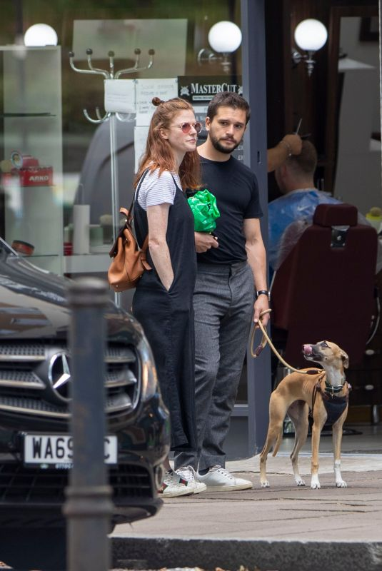 ROSE LESLIE and Kit Harrington Out with Their Dog in London 07/29/2020