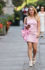 SIAN WELBY in a Pink Denim Mini Dress Out in London 08/11/2020