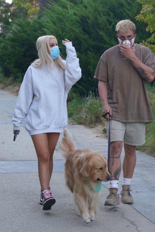 TANA MONGEAU and Jake Paul Out with Their Dog in Calabasas 08/12/2020