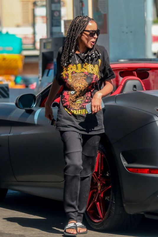TINASHE Out Driving Her Ferrari in Beverly Hills 07/18/2020