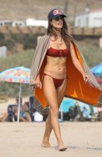 ALESSANDRA AMBROSIO in a Red Bikini on Labour Day at a Beach in Malibu 09/07/2020