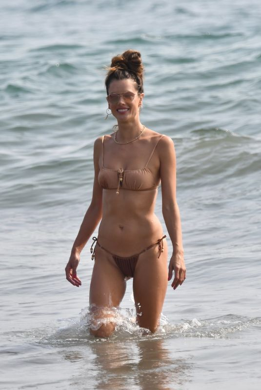 ALESSANDRA AMBROSIO in Bikini Out on the Beach in Santa Monica 09/26/2020