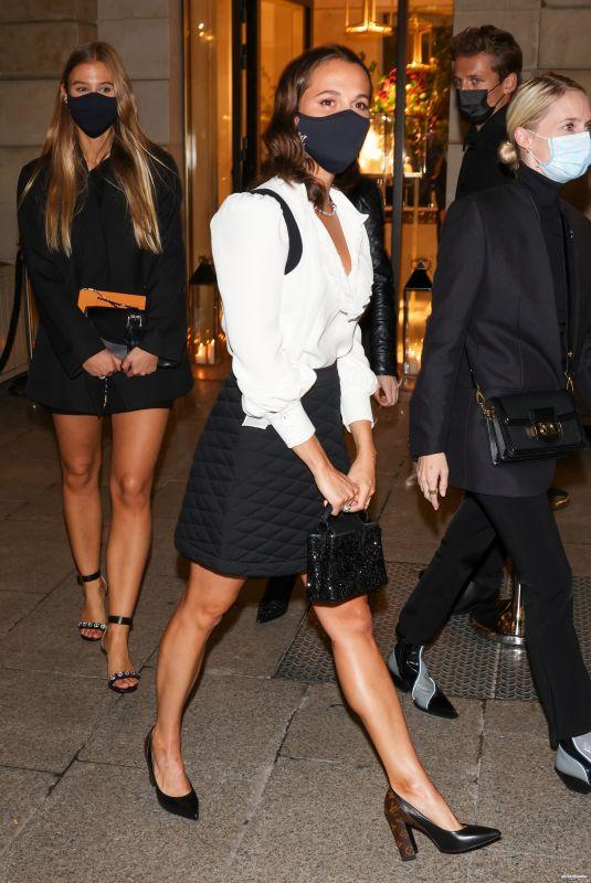 ALICIA VIKANDER Arrives at Louis Vuitton Stellar Jewelry Launch in Paris 09/28/2020