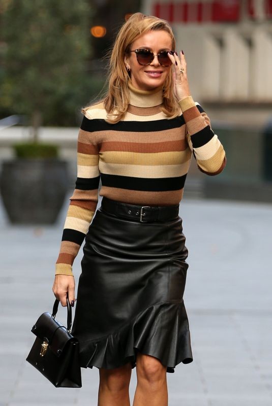 AMANDA HOLDEN in a Leather Skirt Arrives at Global Radio in London 09/25/2020